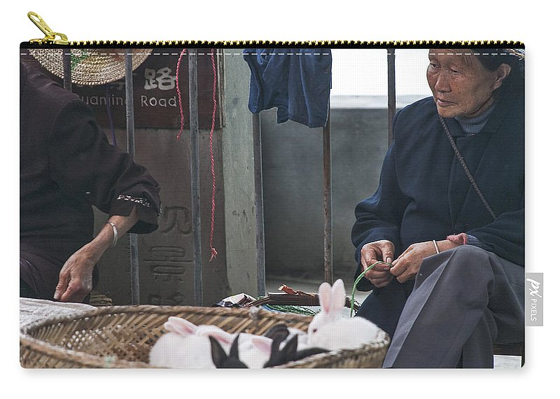 Asia Carry-all Pouch featuring the photograph 4564- Rabbit Vender by David Lange