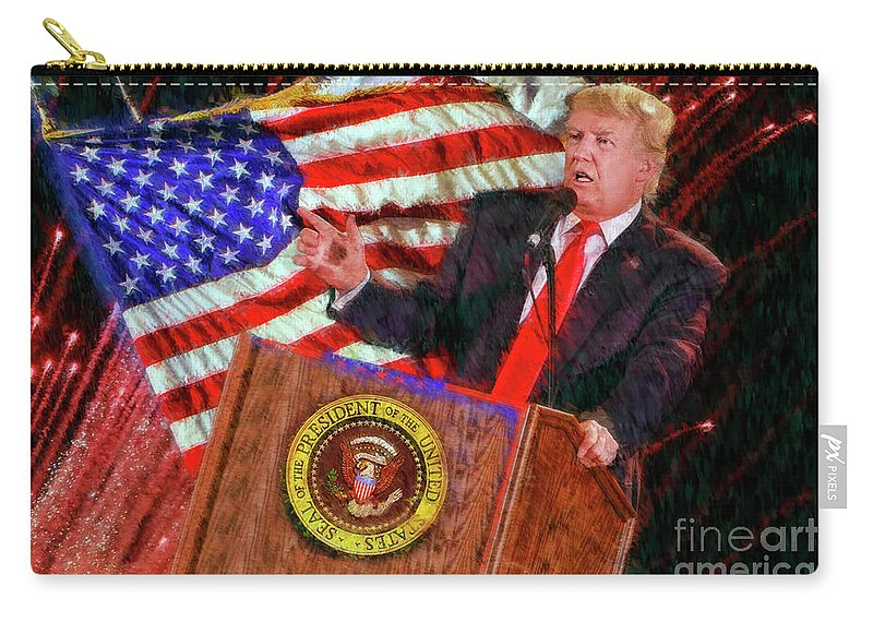 President Donald J Trump Carry-all Pouch featuring the photograph 45th President Donald J Trump by Blake Richards