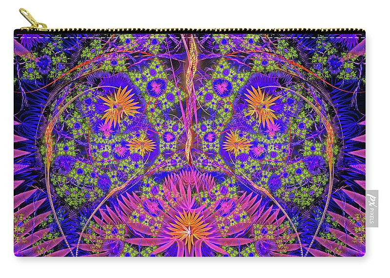 Graphic Design. Magic Energy Multicolored Fractal. 3d Rendering. Carry-all Pouch featuring the digital art Abstract Graphics by Moshe Ruzhinsky
