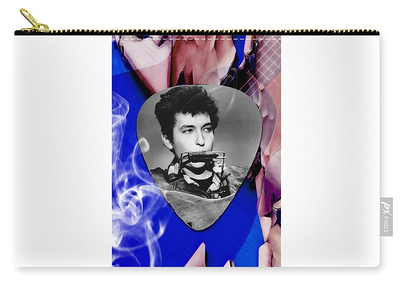 Bob Dylan Art Carry-all Pouch featuring the mixed media Bob Dylan Art by Marvin Blaine