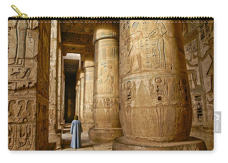 Egypt Carry-all Pouch featuring the photograph Colonnade In An Egyptian Temple by Michele Burgess