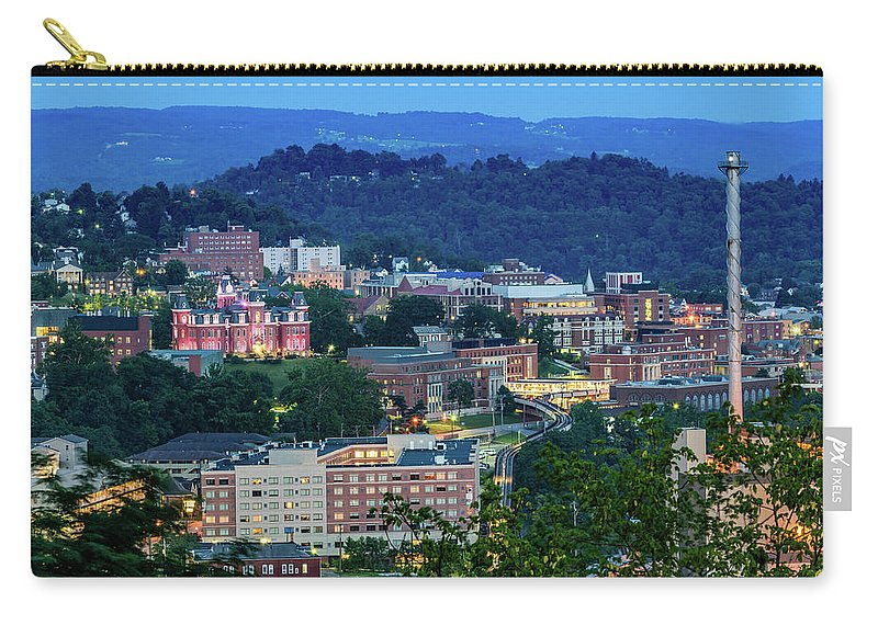 West Carry-all Pouch featuring the photograph Downtown Morgantown And West Virginia University by Cityscape Photography