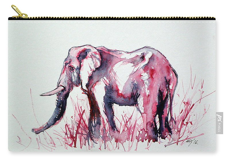 Elephant Carry-all Pouch featuring the painting Elephant by Kovacs Anna Brigitta