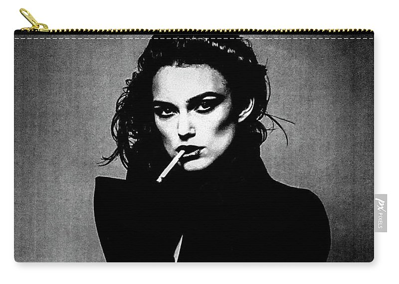 Art Carry-all Pouch featuring the mixed media #5 Keira Kightley Series by Angel Art and Design
