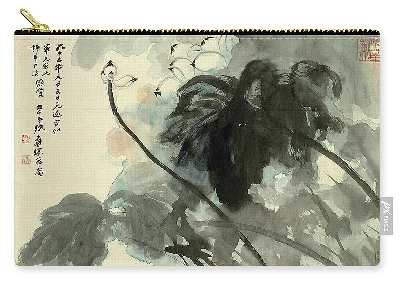 Lotus Plum Peony Flower Carry-all Pouch featuring the painting Lotus by Zhang Daqian