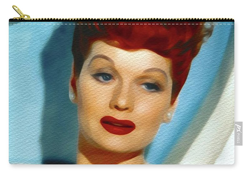 Lucille Carry-all Pouch featuring the painting Lucille Ball, Vintage Actress by John Springfield