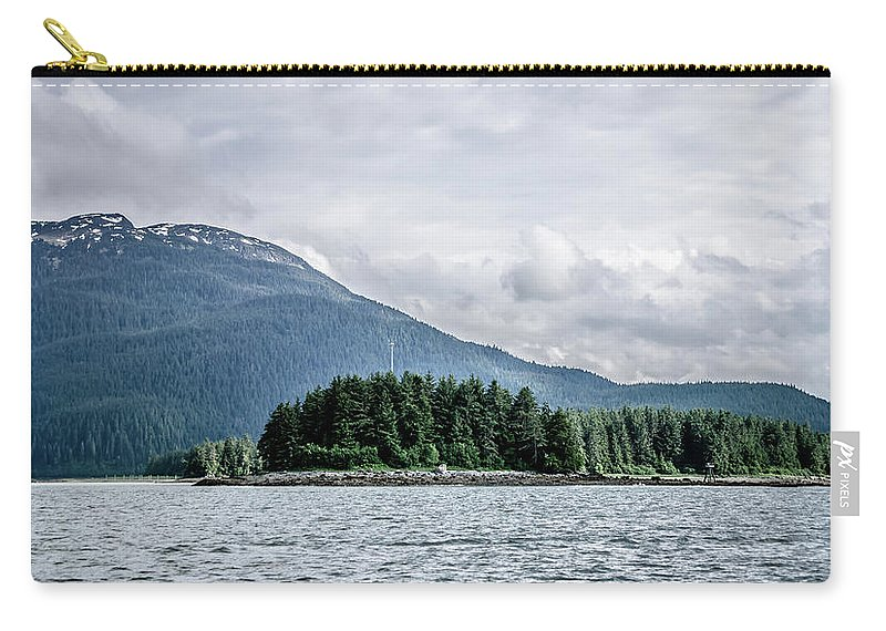 Places Carry-all Pouch featuring the photograph Mountain Range Scenes In June Around Juneau Alaska by Alex Grichenko