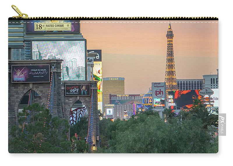 Tower Carry-all Pouch featuring the photograph november 2017 Las Vegas, Nevada - evening shot of eiffel tower a by Alex Grichenko