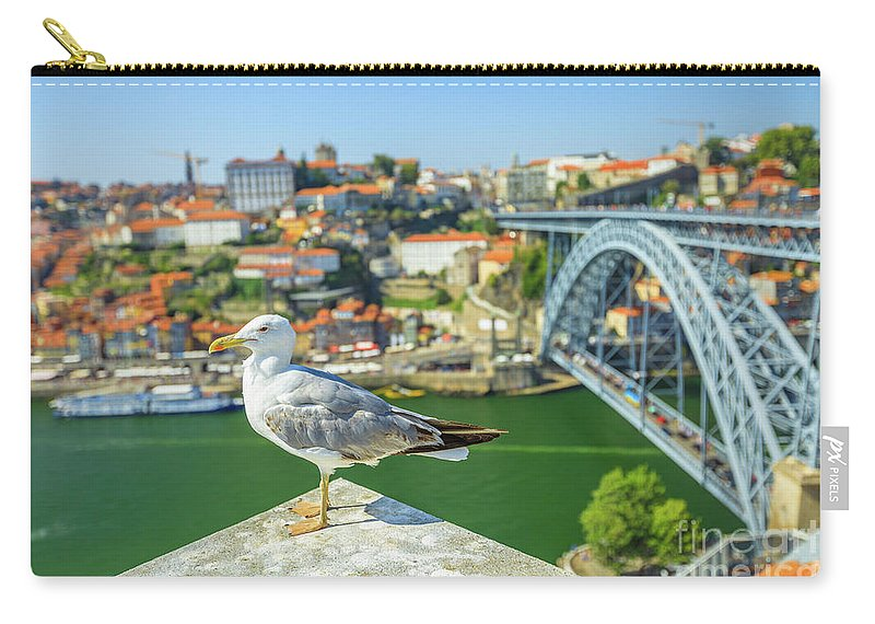 Porto Carry-all Pouch featuring the photograph Porto Skyline Seagull by Benny Marty