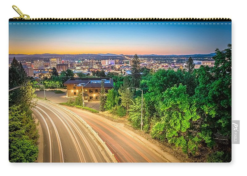 Panorama Carry-all Pouch featuring the photograph Spokane Washington City Skyline And Streets by Alex Grichenko
