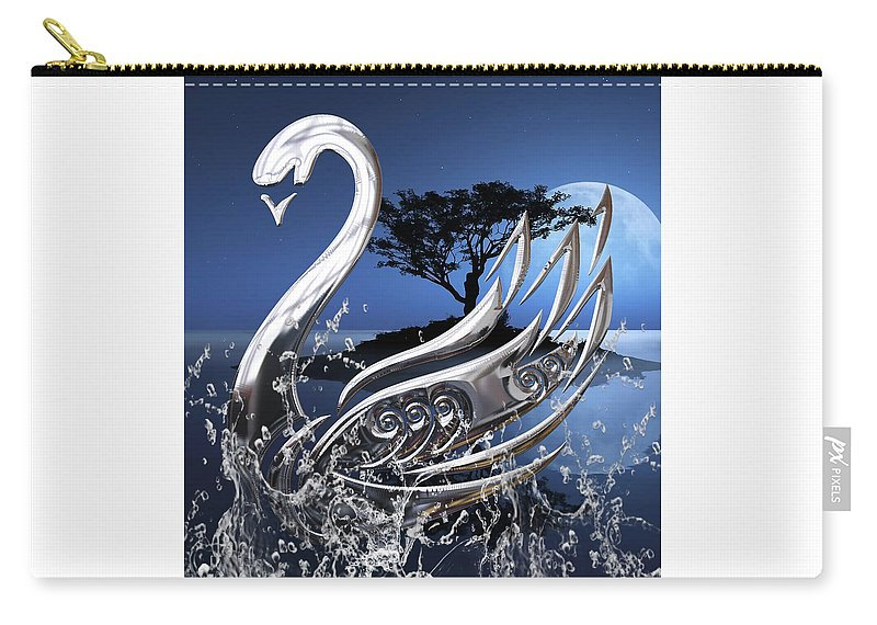 Swan Carry-all Pouch featuring the mixed media Swan Art. by Marvin Blaine