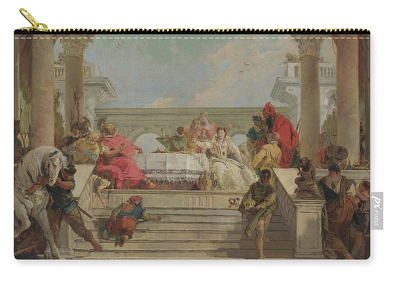 Animals Carry-all Pouch featuring the painting The Banquet Of Cleopatra by Giovanni Battista Tiepolo