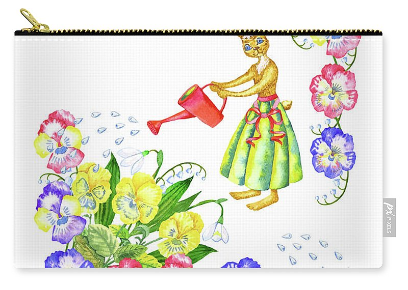 Lily Of The Valley Carry-all Pouch featuring the digital art Welcome Spring. Rabbit And Flowers by Natalia Piacheva