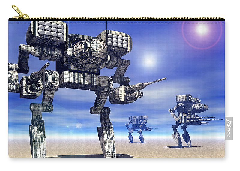 Science Fiction Carry-all Pouch featuring the digital art 501st Mech Trinary by Curtiss Shaffer