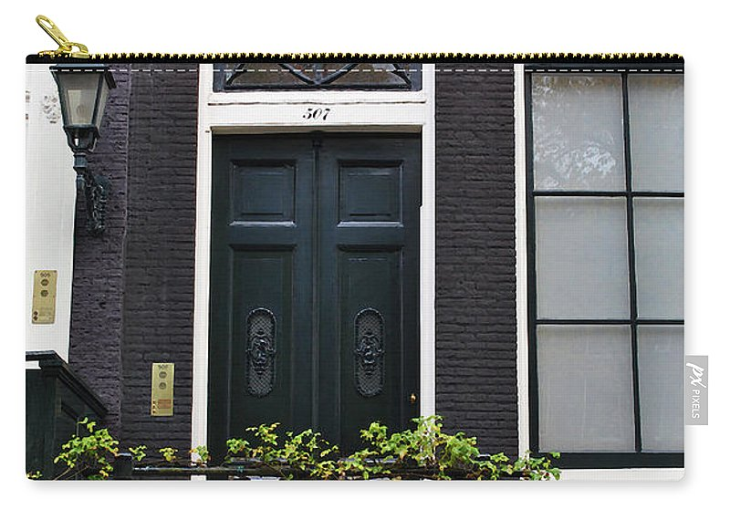 Amsterdam Carry-all Pouch featuring the photograph 507 Doors Of Amsterdam Green by Jost Houk