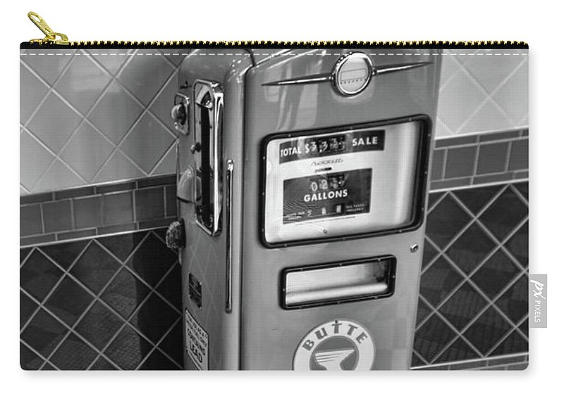 California Adventure Carry-all Pouch featuring the photograph 50's Gas Pump Bw by Chuck Kuhn
