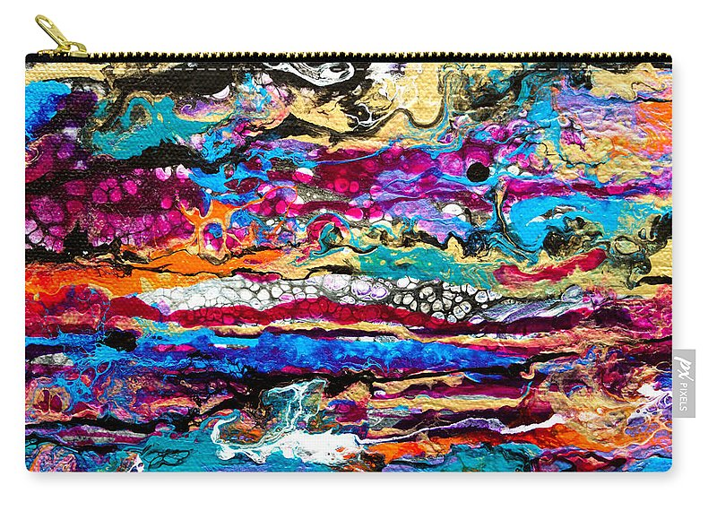 Original Fun Bright Vibrant Colorful Stripes Dynamic Pattern Happy Colors Dynamic Contemporary Fluid Acrylic Painting Carry-all Pouch featuring the painting #521 Bright Swipe by Priscilla Batzell Expressionist Art Studio Gallery