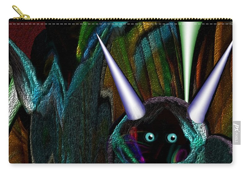 Irmgard Carry-all Pouch featuring the painting 527  Little Alien Being A by Irmgard Schoendorf Welch