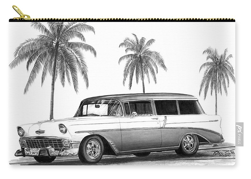 1957 Chevrolet Wagon Carry-all Pouch featuring the drawing 56 Chevy Wagon by Peter Piatt