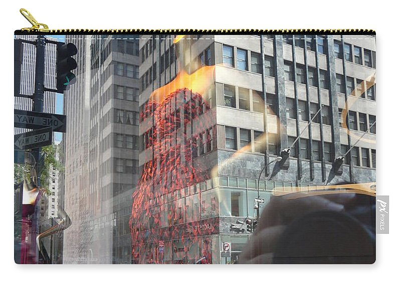 New York Carry-all Pouch featuring the photograph 5th Avenue by Valerie Ornstein
