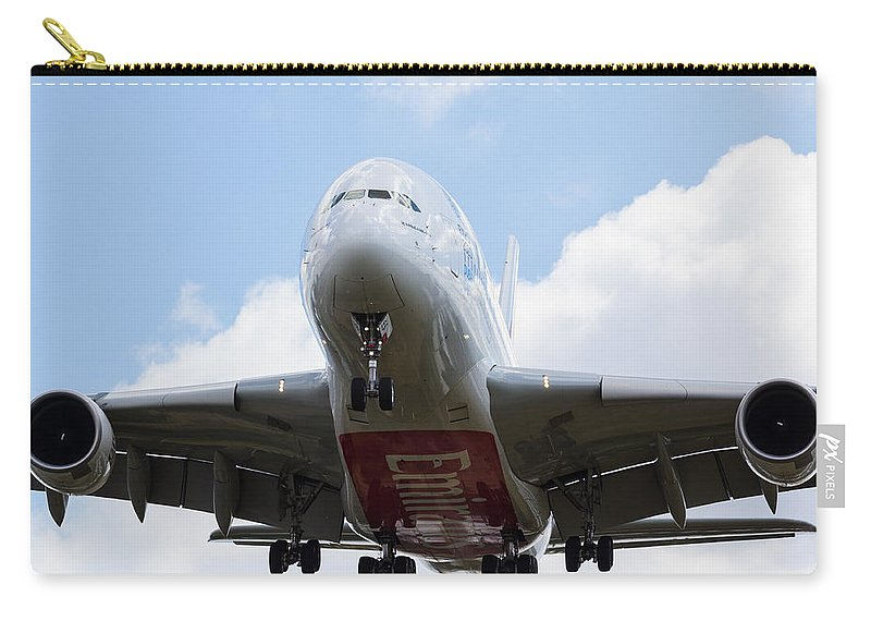 Emirates Carry-all Pouch featuring the photograph Emirates Airbus A380 by David Pyatt