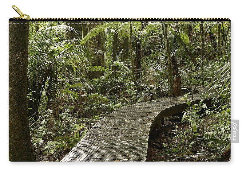 Rain Forest Carry-all Pouch featuring the photograph Forest Boardwalk by Les Cunliffe
