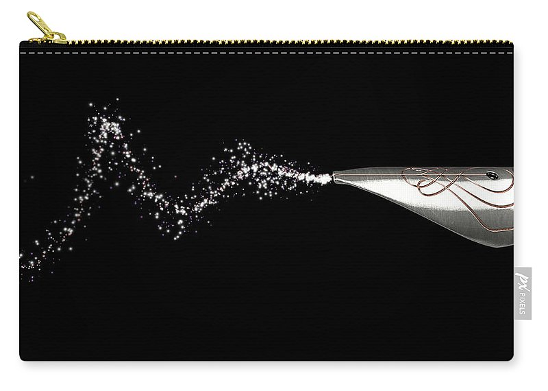 Pen Carry-all Pouch featuring the digital art Fountain Pen Drawing Line by Allan Swart