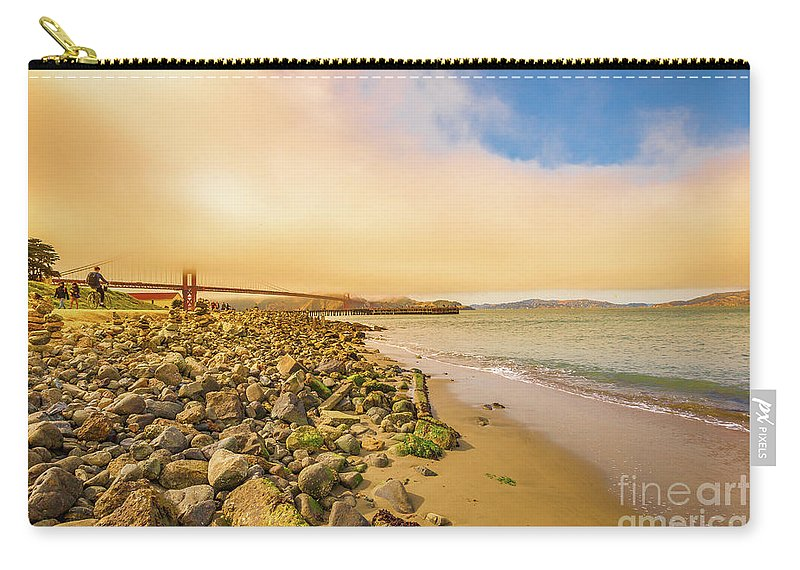 Golden Gate Bridge Carry-all Pouch featuring the photograph Golden Gate Bridge Crissy Field by Benny Marty