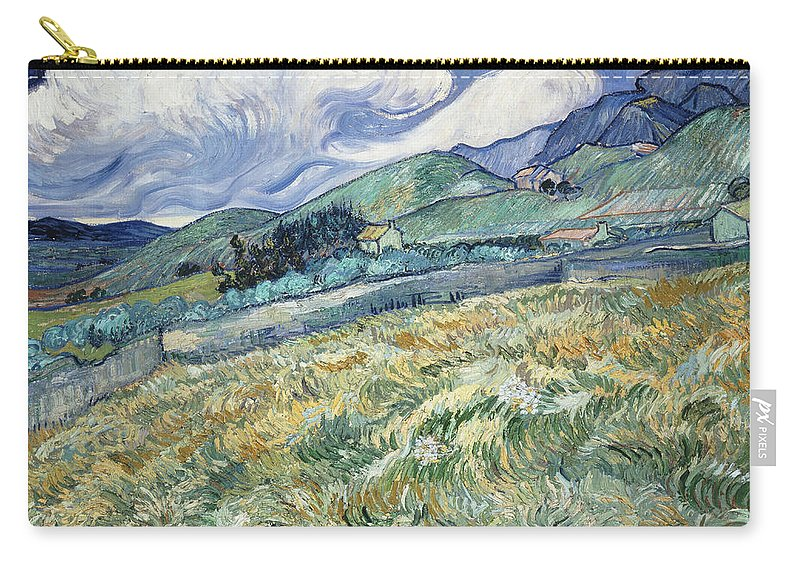Van Gogh Carry-all Pouch featuring the photograph Landscape From Saint-remy by Vincent van Gogh