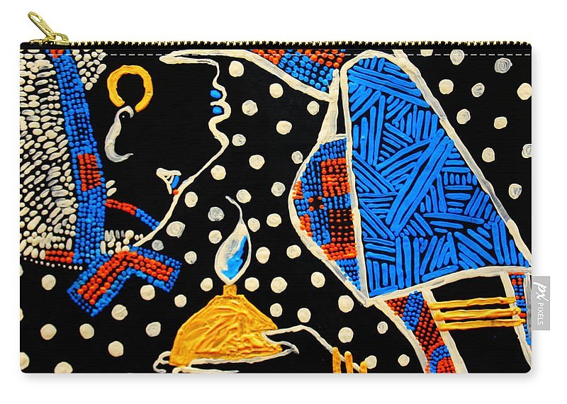 Jesus Carry-all Pouch featuring the painting Murle South Sudanese Wise Virgin by Gloria Ssali