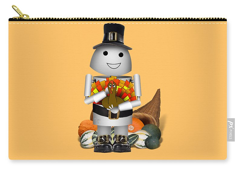 Gravityx9 Carry-all Pouch featuring the mixed media Robo-x9 The Pilgrim by Gravityx9 Designs
