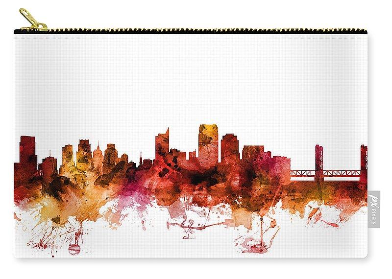 Sacramento Carry-all Pouch featuring the digital art Sacramento California Skyline by Michael Tompsett