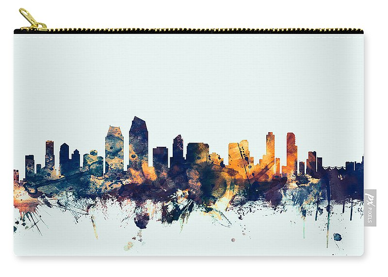 United States Carry-all Pouch featuring the digital art San Diego California Skyline by Michael Tompsett