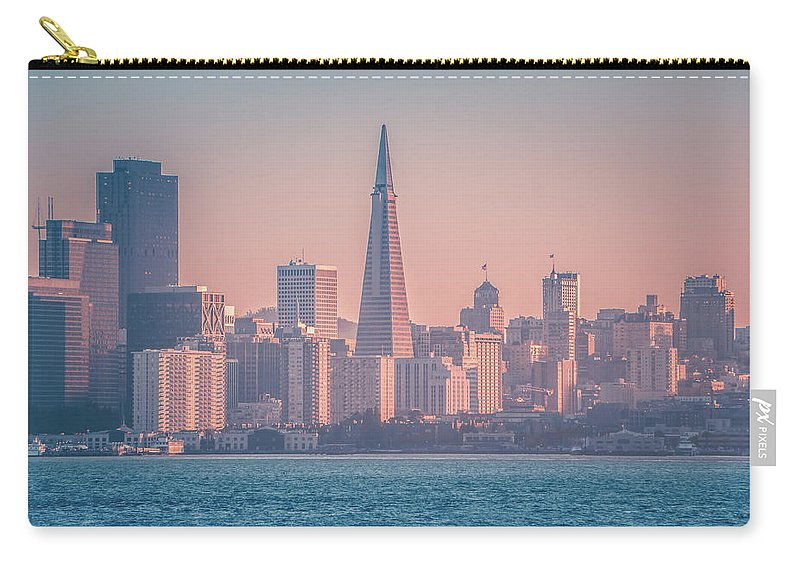 Downtown Carry-all Pouch featuring the photograph San Francisco California City Skyline At Spring Sunset by Alex Grichenko