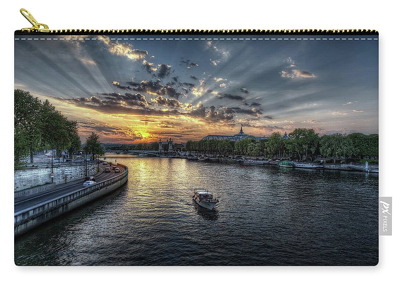 Sunset Carry-all Pouch featuring the digital art Sunset by Maye Loeser