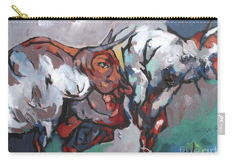 Carry-all Pouch featuring the painting The Bulls by Padam Ghale