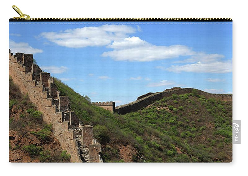 Jinshanling Village Carry-all Pouch featuring the photograph The Great Wall Of China Near Jinshanling Village, Beijing by Dave Porter
