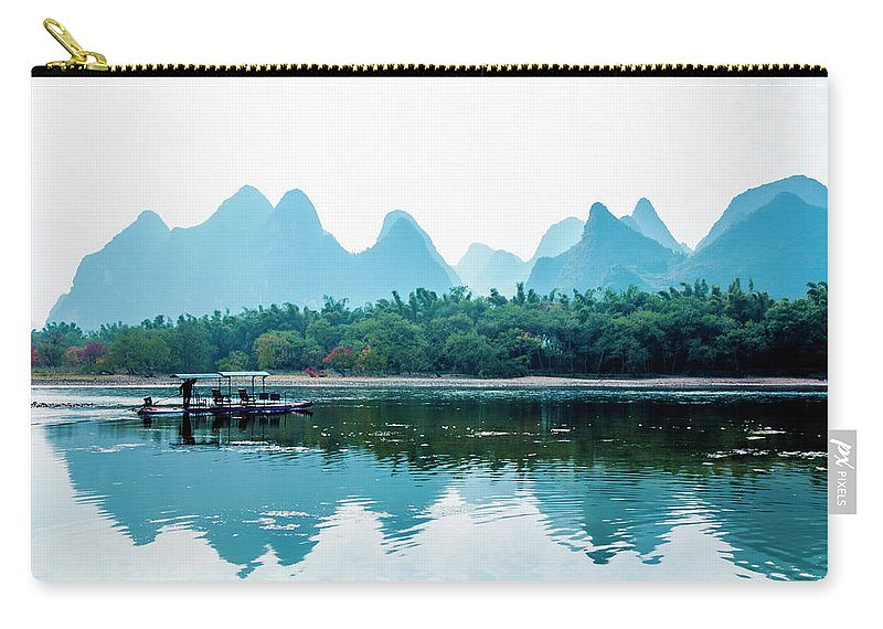 River Carry-all Pouch featuring the photograph Lijiang River And Karst Mountains Scenery by Carl Ning