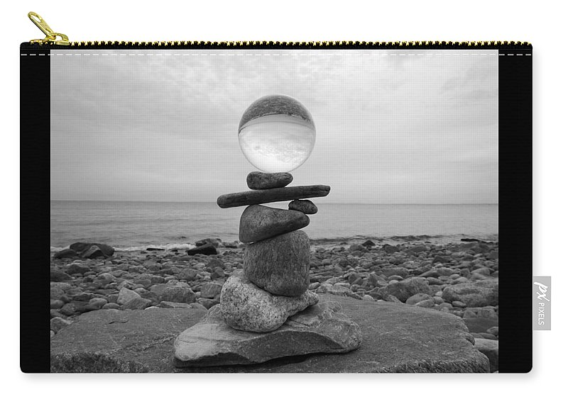 Don't Drop The Crystal Ball Carry-all Pouch featuring the photograph 7-25-16--4467 Black And White, Don't Drop The Crystal Ball, Crystal Ball Photography by Vicki Hall