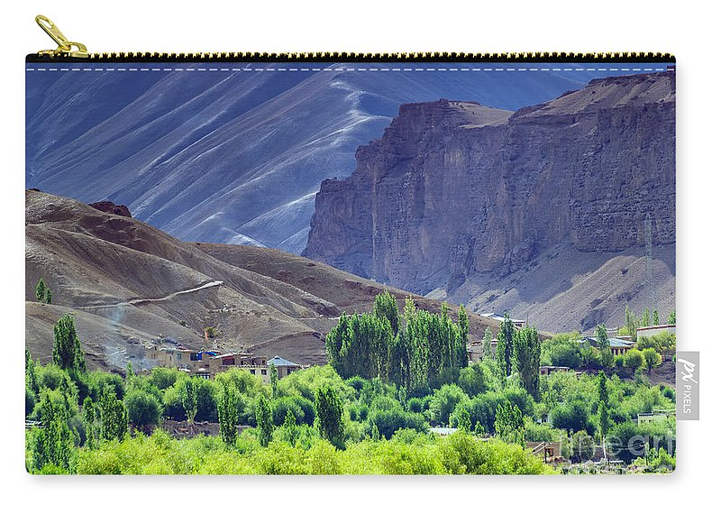 Landscape Carry-all Pouch featuring the photograph aerial view of Leh ladakh landscape Jammu and Kashmir India by Rudra Narayan Mitra