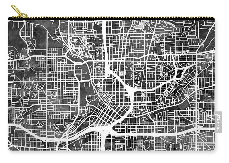 Street Map Carry-all Pouch featuring the digital art Atlanta Georgia City Map by Michael Tompsett