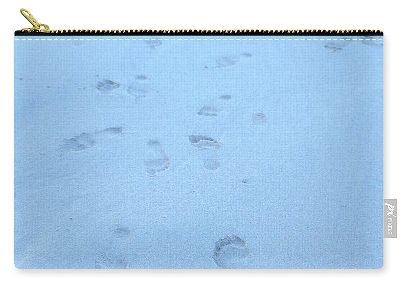 Footprints In The Sand By Jenny Potter Carry-all Pouch featuring the photograph Greeting Card by Jenny Potter