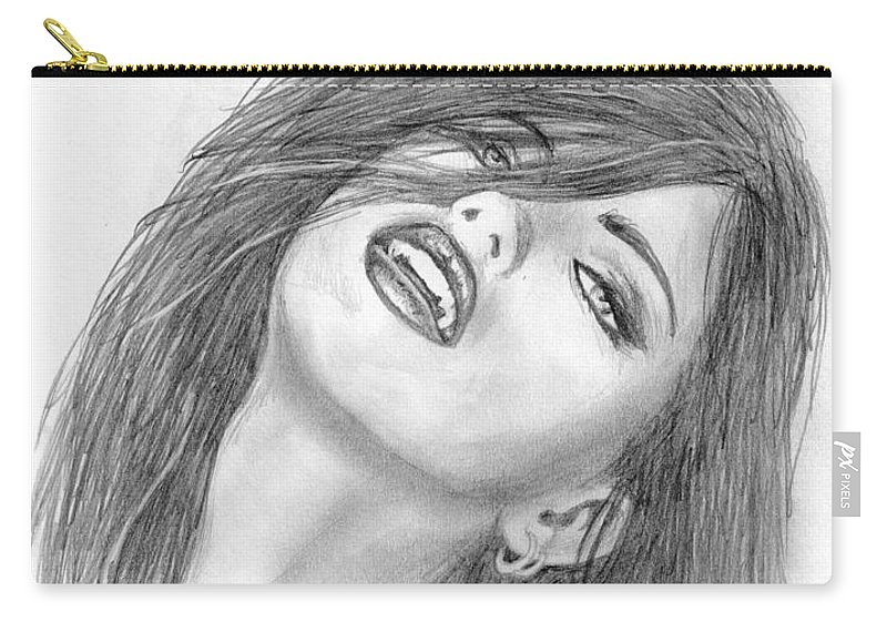 Adriana Lima Carry-all Pouch featuring the drawing 7 by Kristopher VonKaufman