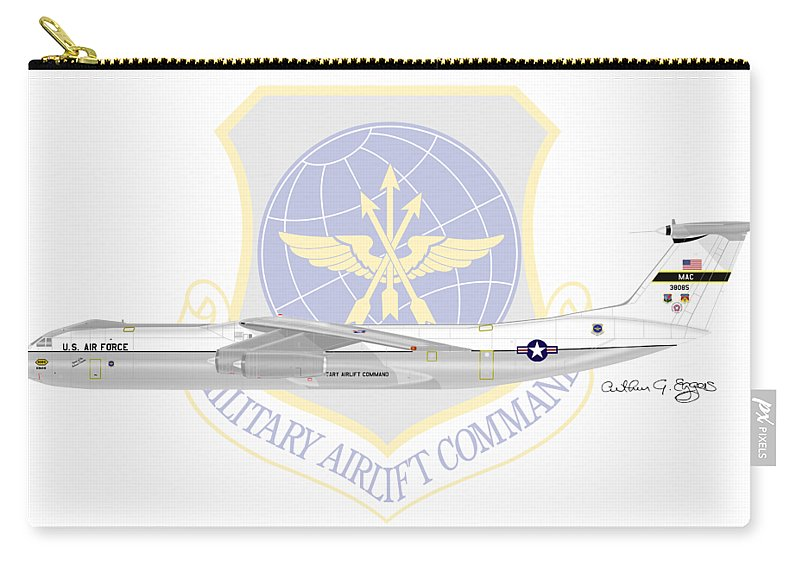 Lockheed Carry-all Pouch featuring the digital art Lockheed C-141a Starlifter by Arthur Eggers