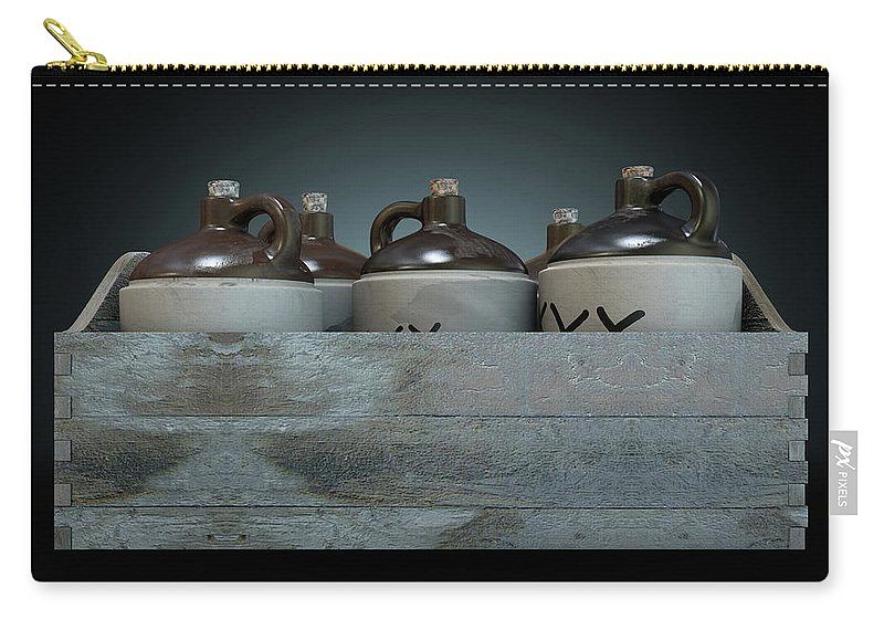 Jug Carry-all Pouch featuring the digital art Moonshine In Wooden Crate by Allan Swart