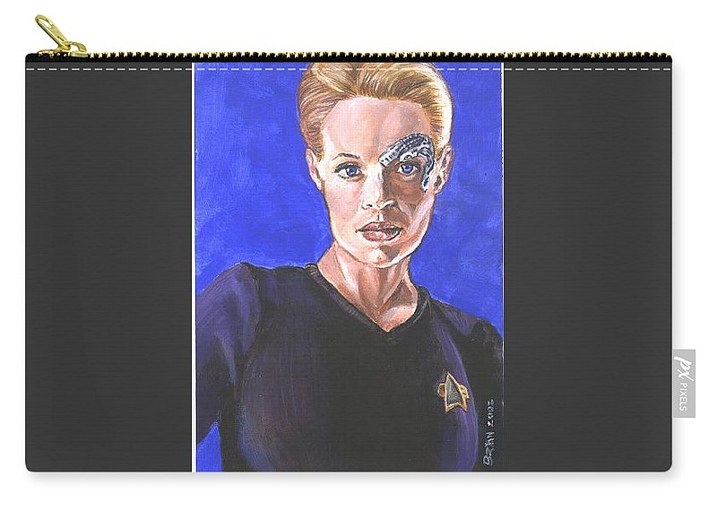 Jeri Ryan Carry-all Pouch featuring the painting 7 Of 9 by Bryan Bustard
