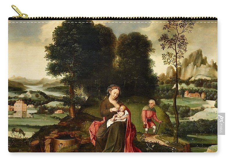 Flemish School Carry-all Pouch featuring the painting Rest On The Flight Into Egypt by MotionAge Designs