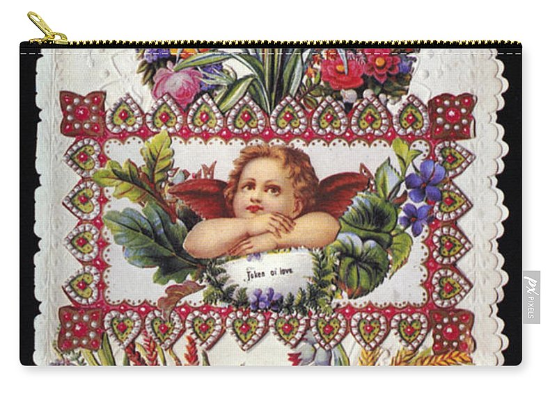 1890 Carry-all Pouch featuring the photograph Valentines Day Card by Granger
