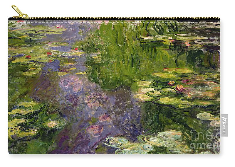 Nympheas; Water; Lily; Waterlily; Impressionist; Green; Purple Carry-all Pouch featuring the painting Waterlilies by Claude Monet
