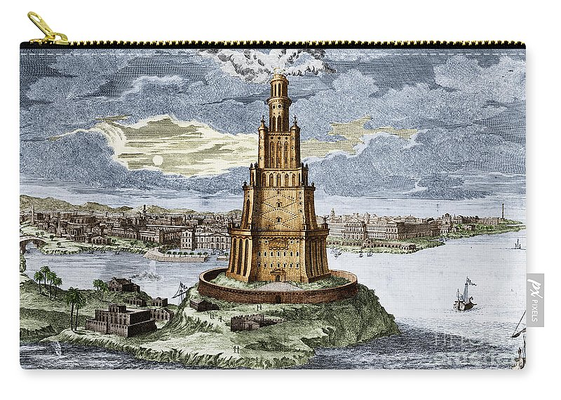 History Carry All Pouch Featuring The Photograph 7 Wonders Of World Lighthouse By